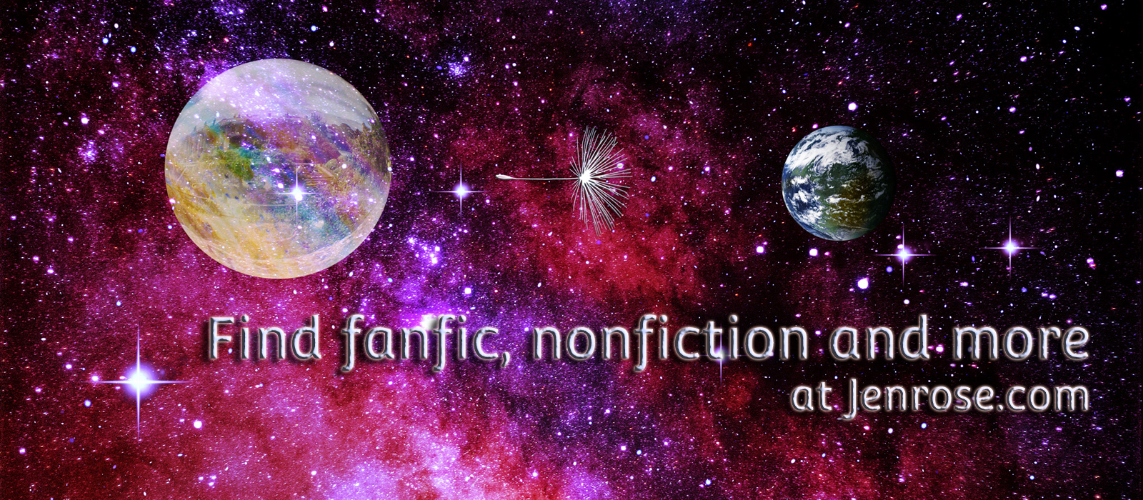 """On a bright nebular background, we see a city in a bubble, a metallic dandelon probe, and the planet Lon. The words """"Find Fanfic, nonfiction,"""